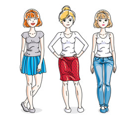 Happy pretty young women standing wearing casual clothes. Vector set of beautiful people illustrations.