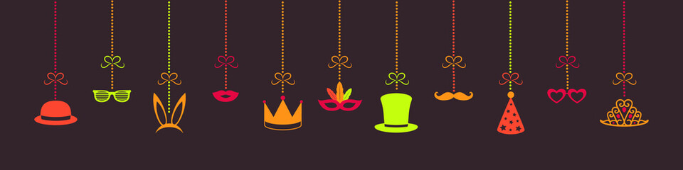 Hanging party elements - carnival decoration. Vector.