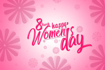 International women's day poster, pink color with flowers background.