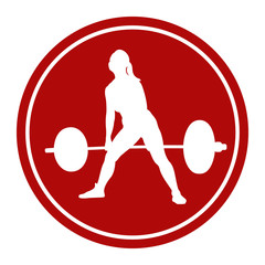 icon female athlete powerlifter deadlift white figure in the red circle