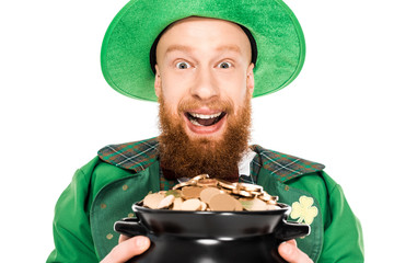 excited leprechaun holding pot of gold, isolated on white Wall mural