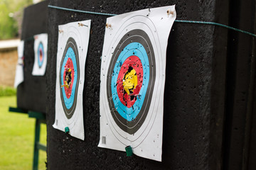 target with bullet holes in the shooting paper