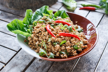 Thai food Ground pork salad or Spicy minced pork salad