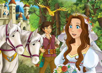cartoon scene with happy couple in the forest near the castle on a horse trip - illustration for children