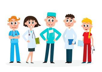 Set of doctors, nurse and surgeon, medical staff, hospital employees, cartoon, comic vector illustration isolated on white background. Cartoon set of doctors, surgeon and nurse in medical uniforms