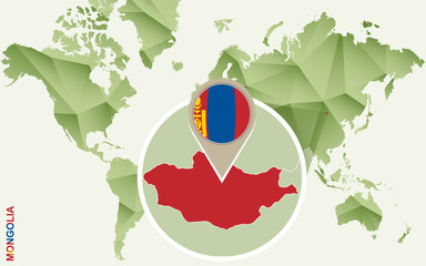 Infographic for Mongolia, detailed map of Mongolia with flag.