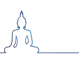 Silhouette of sitting Buddha on white background. Vector illustration.