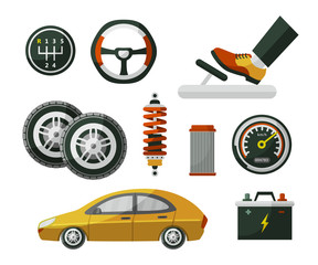 Car, auto, automobile and set of parts wheel, tires, pedal, speedometer, battery, air filter and shock absorber, flat cartoon vector illustration isolated on white background. Set of auto parts