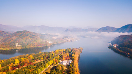 Aerial view. Sunrise Autumn at Nami island ,Seoul Korea.