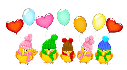 Birds with balloons