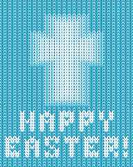 Happy Easter knitted background, vector illustration