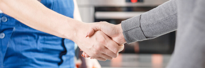 Expert and client shaking hands