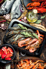 Wall Mural - Seafood with spices.