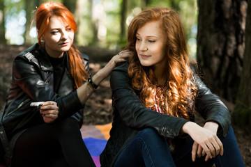 Rebellious girl and lesbian friend