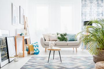 Bright white living room interior