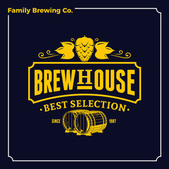 Vector white and yellow vintage brew house logo