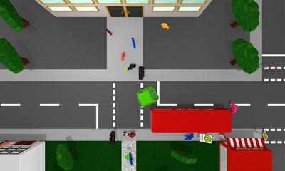 Stadtansicht von oben mit der Gefahrensituation, dass ein Kind vor einen Schulbus rennt.