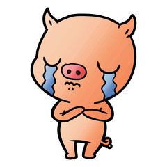 cartoon pig crying