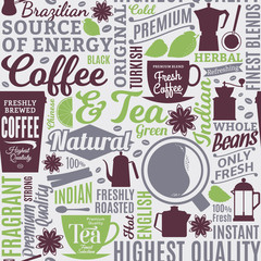Typographic vector coffee and tea seamless pattern or background