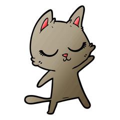 calm cartoon cat waving