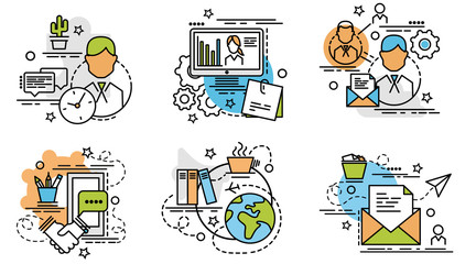 Set of outline icons of Knowledge..Colorful icons for website, mobile, app design and print.
