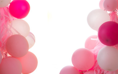 Pink balloons with text space isolated on white