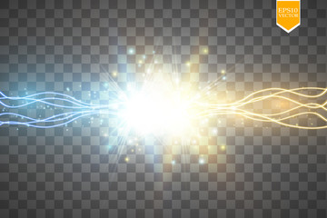 Collision of two forces with gold and blue light. Vector illustration. Hot and cold sparkling power. Energy lightning with electric discharge