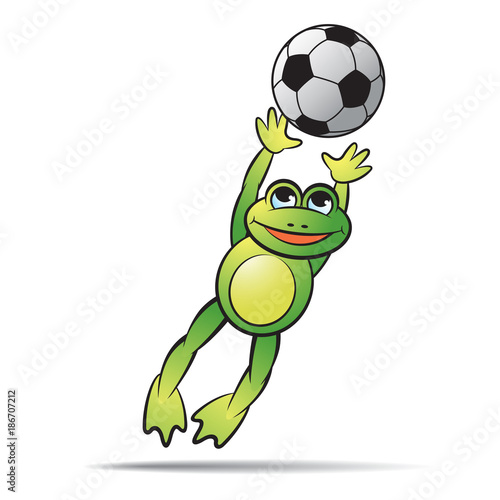 frog cartoon or mascot jumping or catching foot ball vector rh en fotolia com Volleyball Graphics Volleyball Net