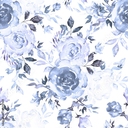 Seamless Pattern With Blue Flowers And Leaves On White Background