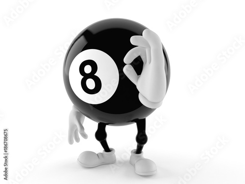 Eight ball character with ok gesture
