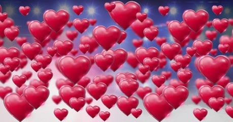Shiny bubbly Valentines hearts with purple misty background and