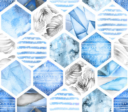 blue geometric seamless pattern on white background. Abstract Watercolor hexagon with monstera leaves, stripes. grunge texture. Hand painted summer illustration. Marine style