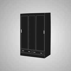 isolated furniture, wardrobe, silhouette
