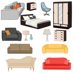 vector, isolated furniture collection, sofas, armchairs, closet