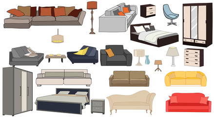 furniture collection, sofas, armchairs, closet