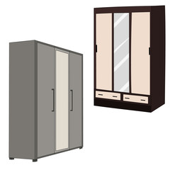 vector, isolated furniture collection, cabinets