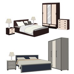 isolated bedroom, bed and wardrobe