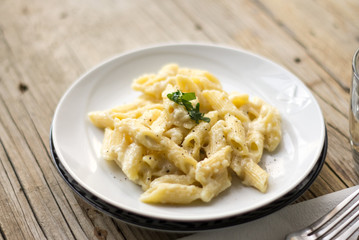 Homemade italian four cheese pasta on a white plate on a wooden table