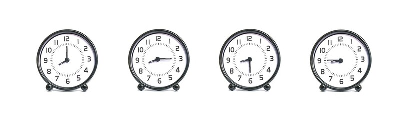 Closeup group of black and white clock for decoration show the time in 8 , 8:15 , 8:30 , 8:45 a.m. isolated on white background