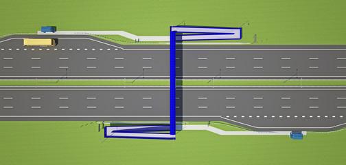 overhead pedestrian crossing over the highway
