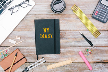 My Diary written on Journal of writer on office desk flat lay