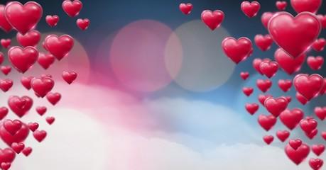 Shiny bubbly Valentines hearts with bokeh misty background