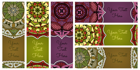 Set of vector banners with hand drawn colorful mandalas