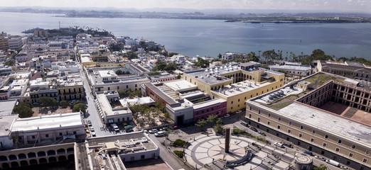 aerial fisheye view of the old city of San Juan, Puerto Rico