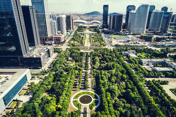 Green city of the future harmony of city and nature sunny day in the big city