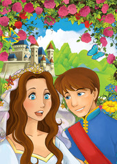 cartoon scene with married couple in the garden near the palace - prince and princess - illustration for children