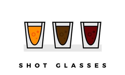 Set of Shot Glasses isolated on white background. eps 10