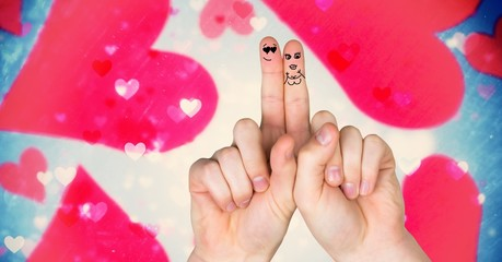 Valentine's fingers love couple and magical floating hearts
