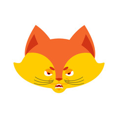 Fox angry emoji. Wild beast evil emotions avatar. she-fox aggressive. Vector illustration