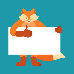 Fox holding banner blank. Beast and white blank. She-fox thumb up and winks joyful emotion. place for text. Vector illustration